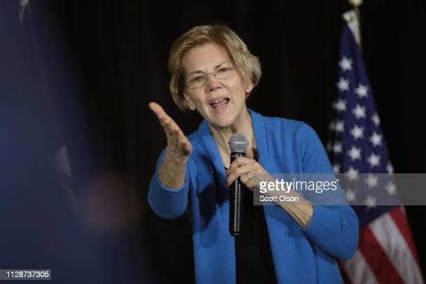Sen Elizabeth Warren speaks to potential voters during a campaign stop at the Veterans Memorial Building on February 10 2019 in Cedar Rapids Iowa...