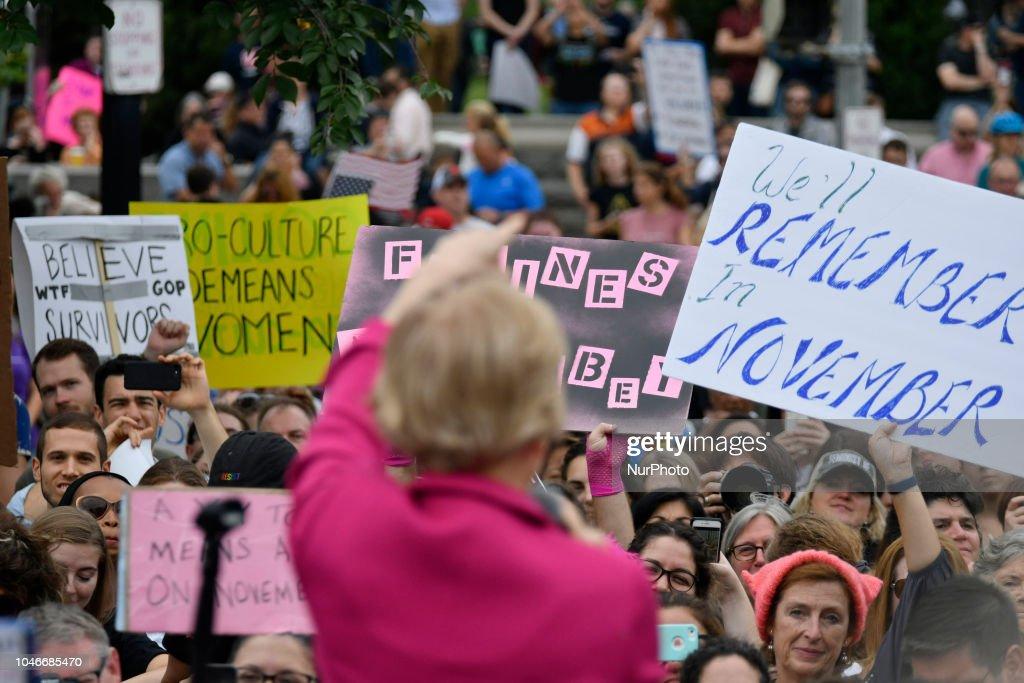 Protesters Demonstrate Against Supreme Court Nominee Brett Kavanaugh : News Photo