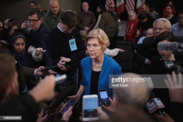 Sen Elizabeth Warren speaks to reporters during a campaign stop at McCoy's Bar Patio and Grill on January 4 2019 in Council Bluffs Iowa Warren...