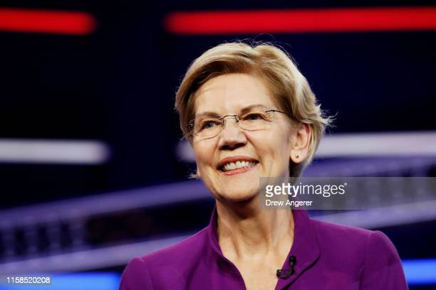 Sen Elizabeth Warren takes the stage during the first night of the Democratic presidential debate on June 26 2019 in Miami Florida A field of 20...