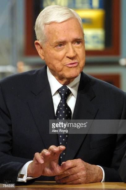Sen Ernest Hollings discusses President George W Bush's tax cut proposal on Meet the Press February 11 2001 during a taping at the NBC studio in...