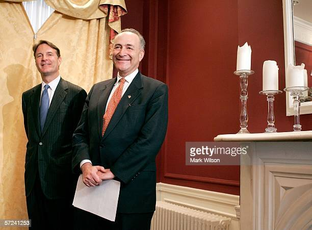 S Sen Evan Bayh and Sen Charles Schumer participate in a news conference on newly released polling data April 3 2006 in Washington DC Schumer said...