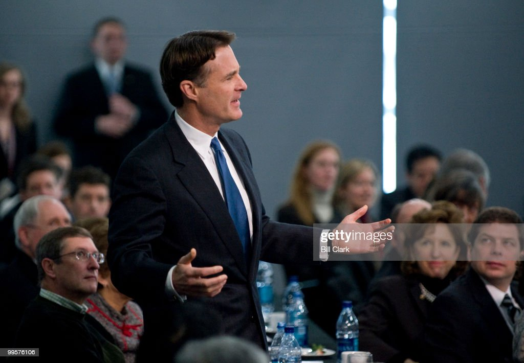 Sen. Evan Bayh, D-Ind., aks President Barack Obama a question during the Senate Democrats retreat at the Newseum in Washington on Wednesday, Feb. 3, 2010.