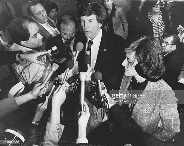 APR 25 1980 APR 28 1980 Sen Gary Hart DColo left and Rep Pat Schroeder DColo Answer Questions at Stapleton Airport Their reaction to Friday's aborted...