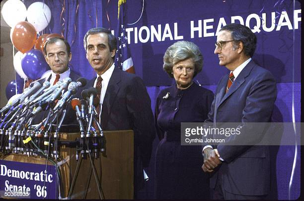 Sen George J Mitchell Dem for 80's Mrs W Averall Harriman Rep Tony Coelho and DNC Chairman Paul G Kirk Jr during the Dem Victory Press Conference...