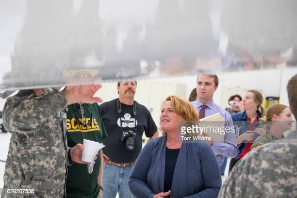 Sen Heidi Heitkamp DND attends an event with National Guardsmen in Bismarck ND on August 17 before some troops were deployed to Africa She is running...