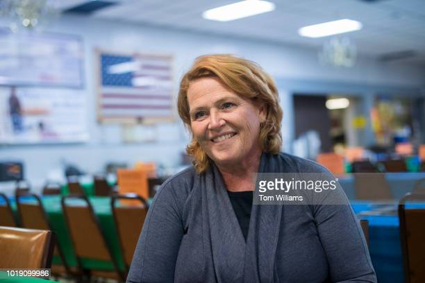 Sen Heidi Heitkamp DND is interviewed at Amvets Club in Bismarck ND on August 17 2018 Heitkamp is running against Rep Kevin Cramer RND for the North...