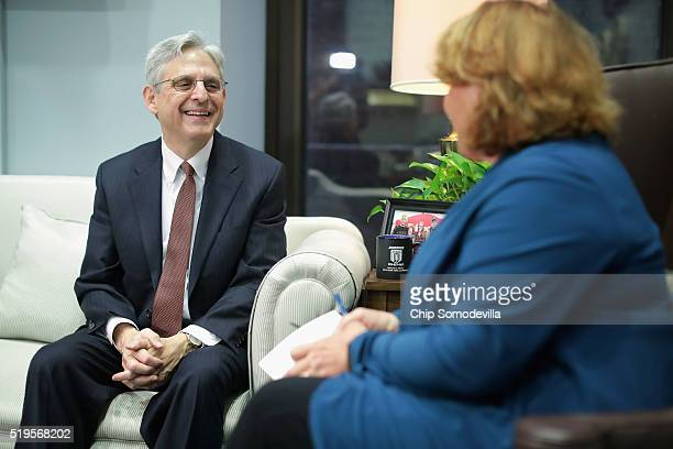 S Sen Heidi Heitkamp meets with Supreme Court Justice nominee Merrick Garland in her office in the Hart Senate Office Building on Capitol Hill April...