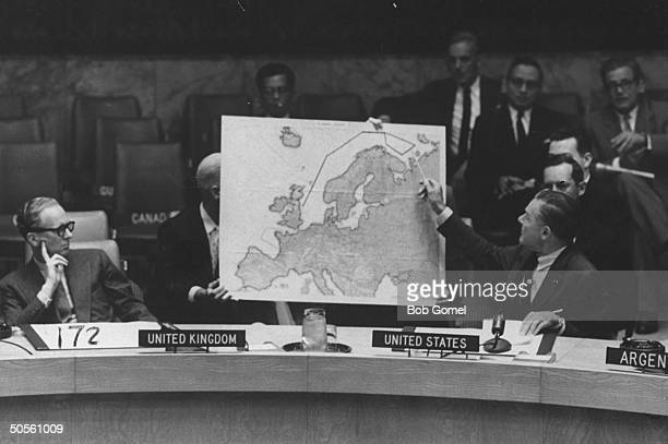 Sen Henry Lodge Jr and Sir Pierson Dixon at a UN Security Council discussion about the RB47 incident
