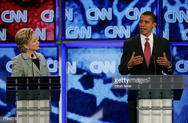 S Sen Hillary Clinton and US Sen Barack Obama speak during a Democratic presidential debate at UNLV sponsored by CNN November 15 2007 in Las Vegas...