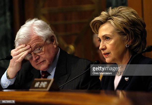 Sen Hillary Clinton DNY and Sen Edward Kennedy DMa at a Senate Armed Services Committee briefing on national security implications of the acquisition...