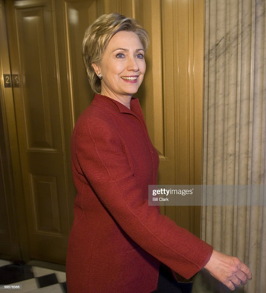 Sen. Hillary Clinton, D-N.Y., arrives for the Democratic policy luncheon in the Capitol on Wednesday, Jan. 17, 2007.