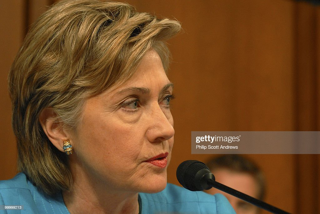 Sen. Hillary Clinton, D-NY asks Secretary of Defense, Donald Rumsfeld a question before the Senate Armed Services Committee on the war in Iraq and Afghanistan.