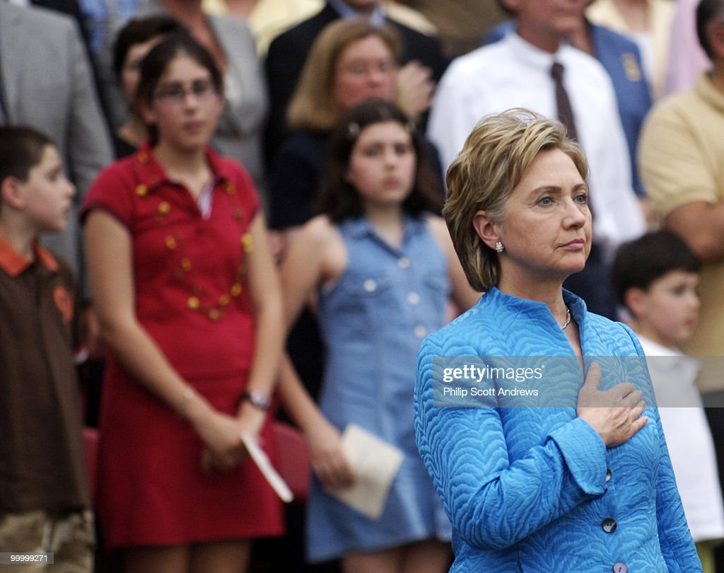 Sen. Hillary Clinton D-Ny. attends the Marine Corps 'Sunset Parade' in front of the Iwo Jima memorial.