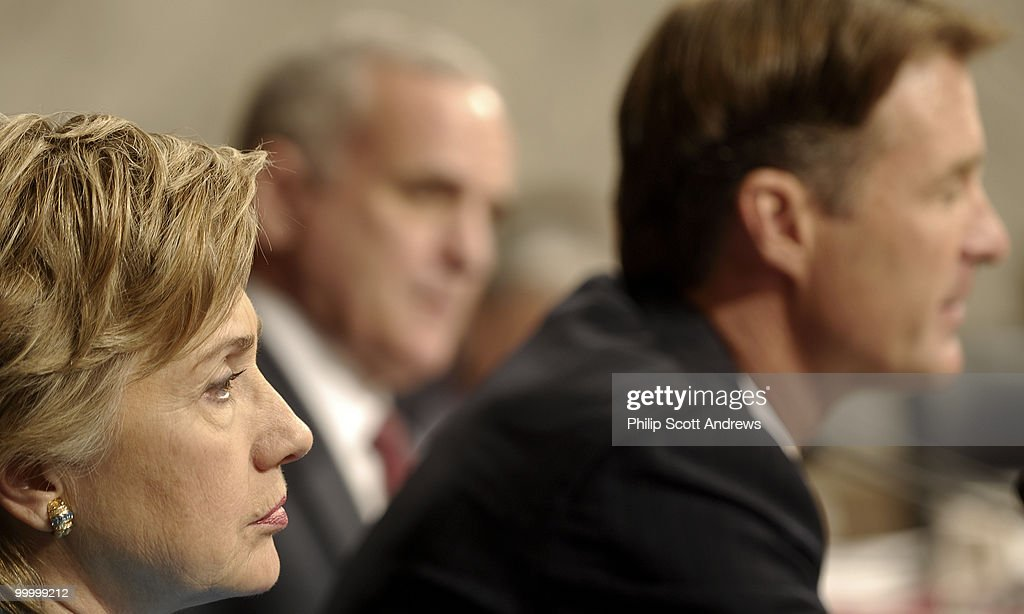 Sen. Hillary Clinton, D-NY, listens to Secretary of Defense, Donald Rumsfeld testifies before the Senate Armed Services Committee on the war in Iraq and Afghanistan.