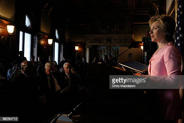 Sen Hillary Clinton DNY speaks at a press conference at the Library of Congress to commemorate the 40th anniversary of the Voting Rights Act which is...