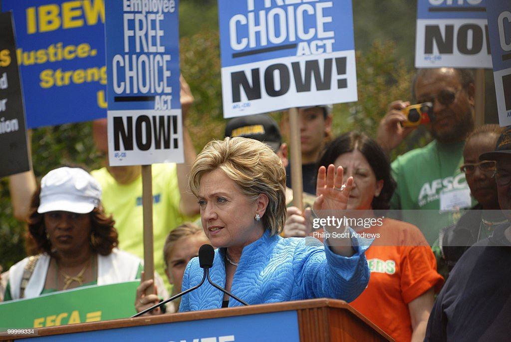 Sen. Hillary Clinton, D-Ny. speaks at a pro labor rally in the Upper Senate Park. The rally was put on by The American Federation of State, County and Municipal Employees in support of the Employee Free Choice Act.