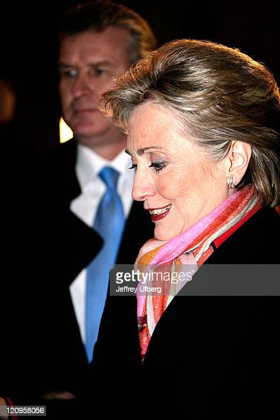 Sen Hillary Clinton makes a stop to visit with supporters after her appearance on David Letterman on February 4 2008 in New York City