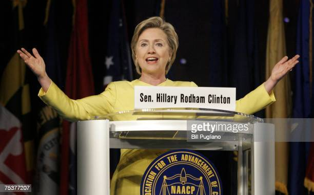 S Sen Hillary Clinton participates in a presidential candidates forum hosted by the NAACP at the 98th Annual NAACP National Convention July 12 2007...