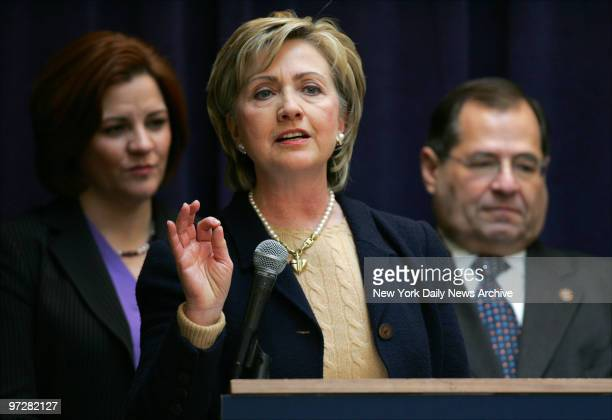 Sen Hillary Clinton speaks during a news conference at the Ryan ChelseaClinton Community Heath Center on 10th Ave where she was promoting her plans...