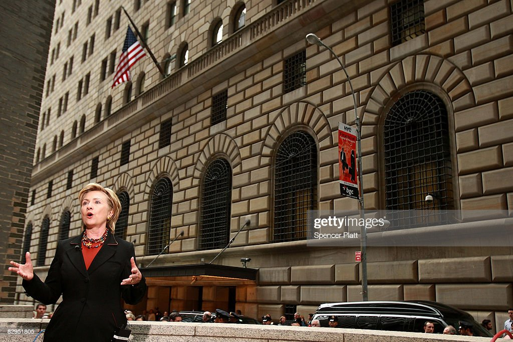 Sen. Hillary Clinton (D-NY) speaks in front of the Federal Reserve Bank of New York September 22, 2008 in New York City. Sen. Clinton commented on the continuing crisis in the nation's financial institutions.