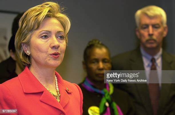 Sen Hillary Clinton stands with representatives of Mount Sinai Hospital and New York City labor unions as she announces a major new healthtracking...