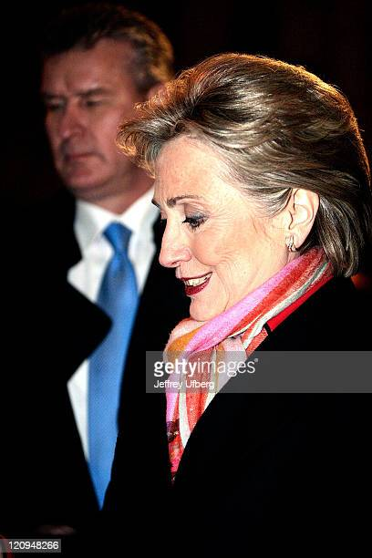 Sen Hillary Clinton takes time to great supporters after her appearance on David Letterman on February 4 in New York City