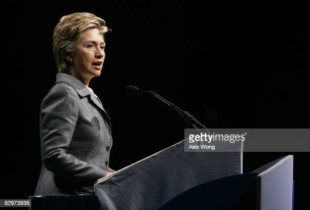 S Sen Hillary Rodham Clinton addresses the annual American Israel Public Affairs Committee Policy Conference at the Washington Convention Center May...