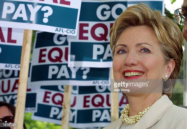 Sen Hillary Rodham Clinton attends a press conference to address the equal pay act June 12 2001 Capitol Hill in Washington DC The AFLCIO''s Working...