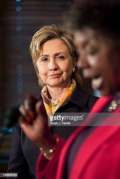 Sen Hillary Rodham Clinton DNY and Rep Stephanie Tubbs Jones DOhio during a news conference on federal election reform legislation called the Count...