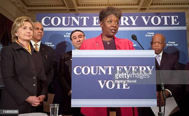 Sen Hillary Rodham Clinton DNY Hilary O Shelton of the NAACP Ralph G Neas president of People for the American Way Rep Stephanie Tubbs Jones DOhio...