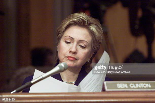 Sen Hillary Rodham Clinton follows proceedings at a Senate subcommittee hearing on the shortage of nurses