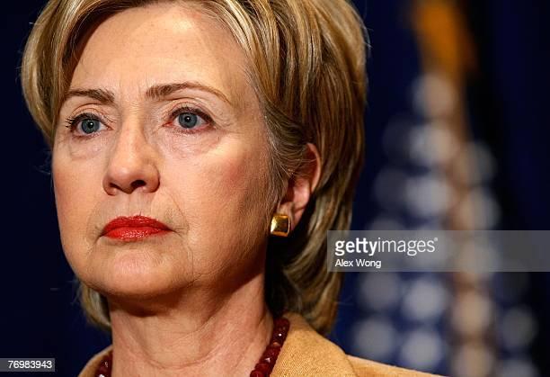Sen. Hillary Rodham Clinton listens during an endorsement event at a hotel on Capitol Hill September 24, 2007 in Washington, DC. Sen. Evan Bayh has...