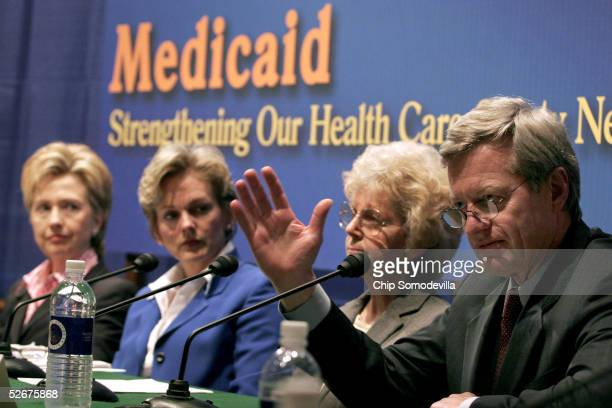 US Sen Hillary Rodham Clinton Michigan Governor Jennifer Granholm Phyllis Craig of Brewer Maine and Sen Max Baucus participate in a forum on the...