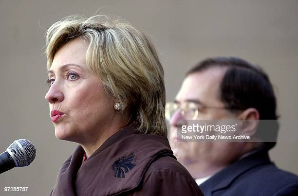 Sen Hillary Rodham Clinton speaks as Rep Jerry Nadler looks on during press conference at Pace University to condemn the recent suicide bombings in...