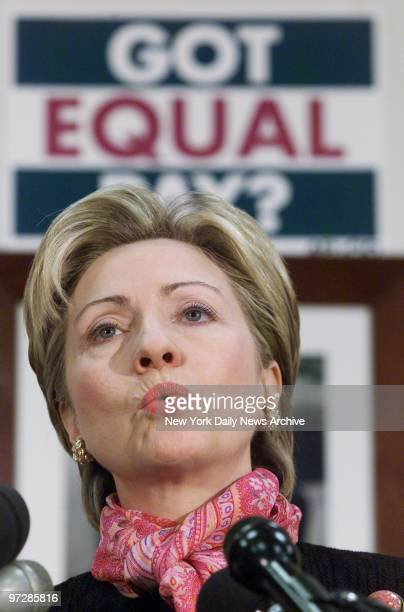 Sen Hillary Rodham Clinton speaks at a news conference in the capital on proposed legislation requiring equal pay for equal work for women