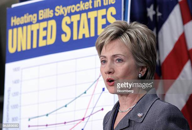 S Sen Hillary Rodham Clinton speaks at a news conference in Washington DC Tuesday November 8 on high energy prices and the Low Income Home Energy...