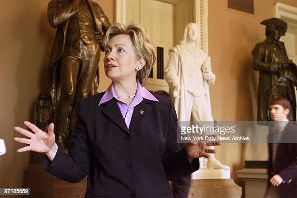 Sen Hillary Rodham Clinton speaks to media outside the Senate chamber about budget and other issues The Senate hurried to complete its work before...