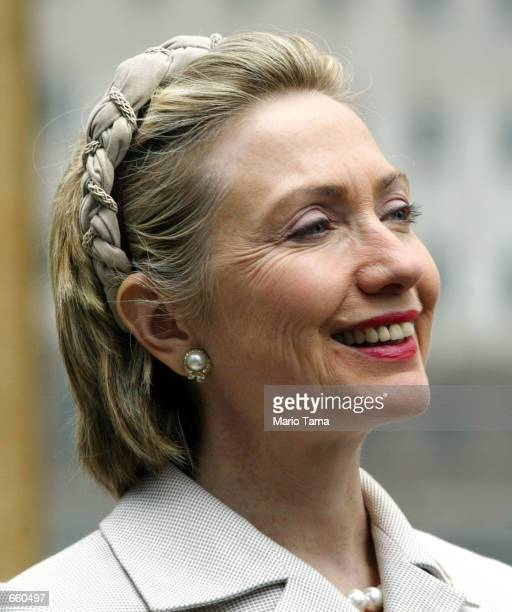 Sen Hillary Rodham Clinton sports a new hairstyle at a press conference at Ground Zero of the World Trade Center terrorist attacks June 7 2002 in New...