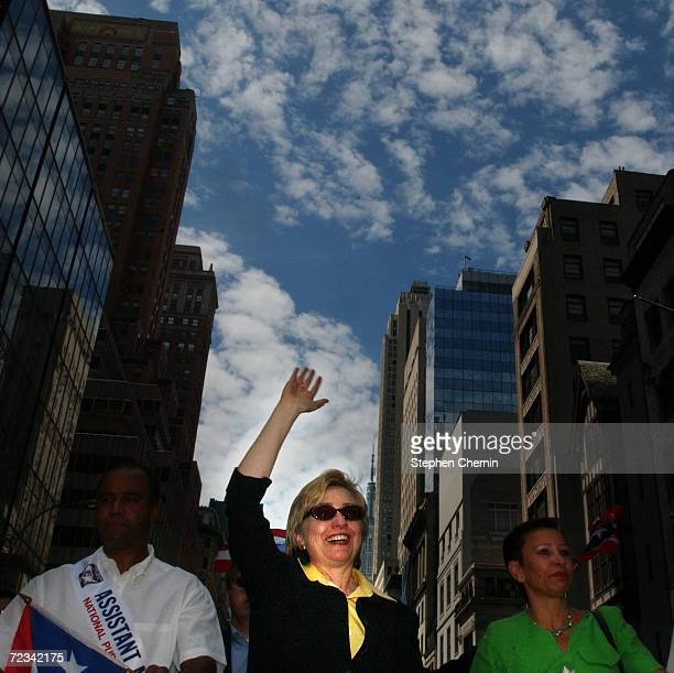 S Sen Hillary Rodham Clinton waves to the crowd during the ninth annual Puerto Rican Day Parade June 13 2004 in New York City Tens of thousands of...