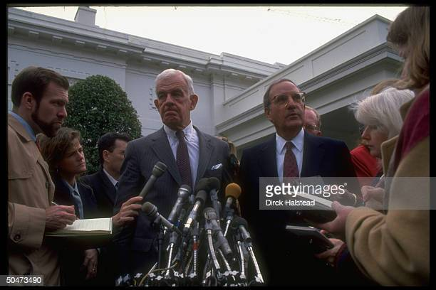 Sen House maj ldrs Sen George Mitchell Rep Tom Foley briefing press outside WH after bipartisan ldrship mtg w Pres on Clinton economic package