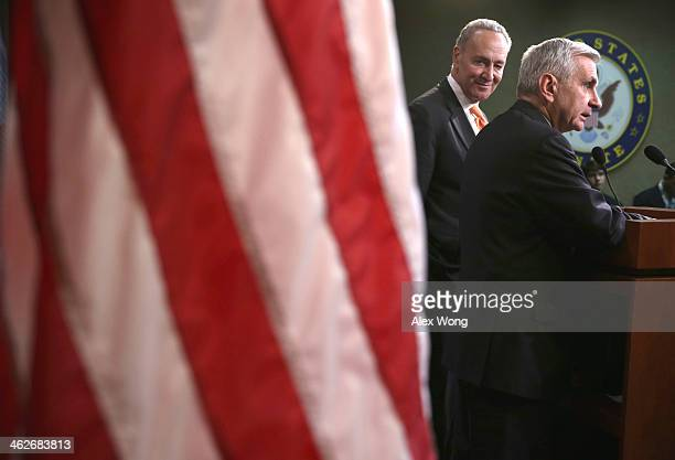 S Sen Jack Reed and Sen Charles Schumer speak to members of the media on unemployment insurance on January 14 2014 on Capitol Hill in Washington DC...