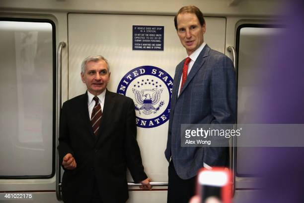 S Sen Jack Reed and Sen Ron Wyden take the Senate subway after a vote January 6 2014 on Capitol Hill in Washington DC Janet Yellen was confirmed by...