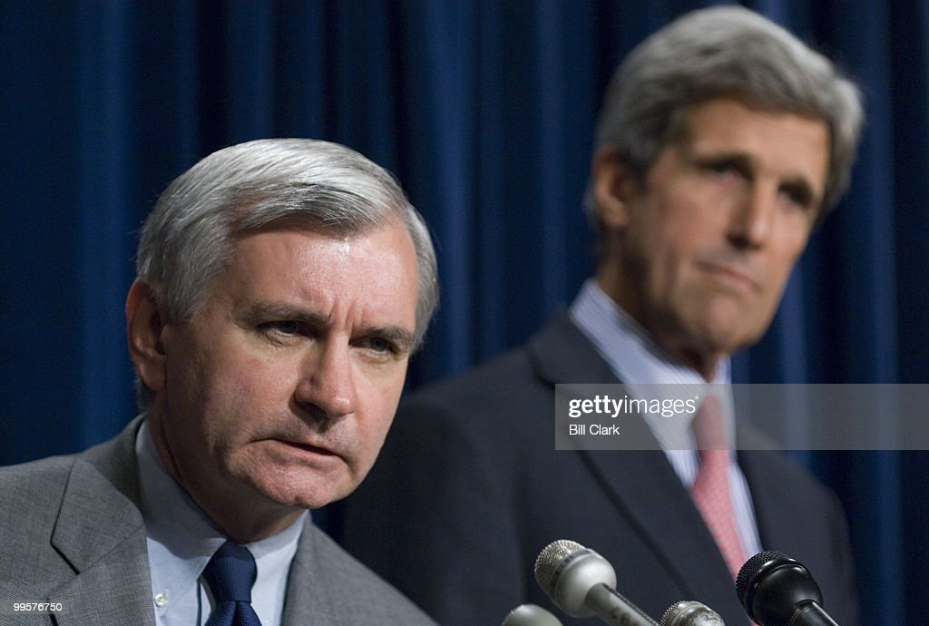 Sen. Jack Reed, D-R.I., left, and Sen. John Kerry, D-Mass., hold a news conference on Capitol Hill to give reactions to President Bush's speech earlier in the day on terrorism on Tuesday, July 24, 2007.