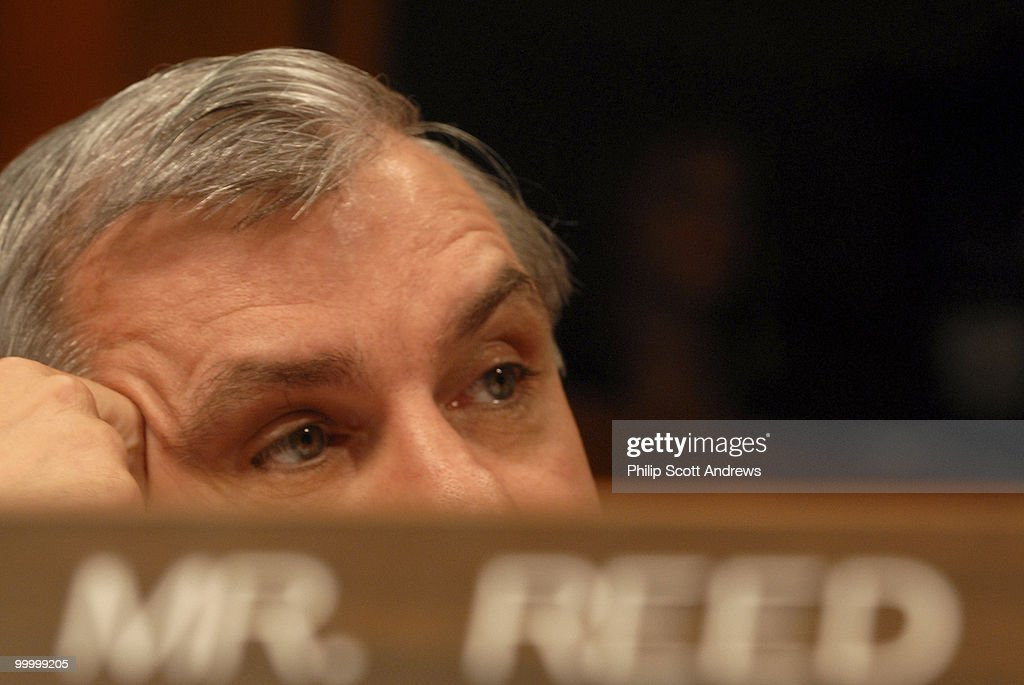 Sen. Jack Reed, D-RI, listens to Secretary of Defense, Donald Rumsfeld, Chairman of the Joint Chiefs of Staff Gen. Peter Pace, and Army General John Abizaid testify before the Senate Armed Services Committee on the war in Iraq and Afghanistan.