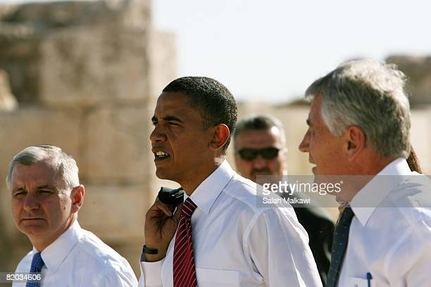 US Sen Jack Reed presumptive Democratic presidential candidate Sen Barack Obama and Sen Chuck Hagel walk through the Amman Citadel an ancient Roman...