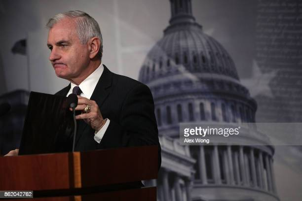S Sen Jack Reed ranking member of Senate Armed Services Committee pauses during a news conference on the Korean Peninsula October 16 2017 at the...