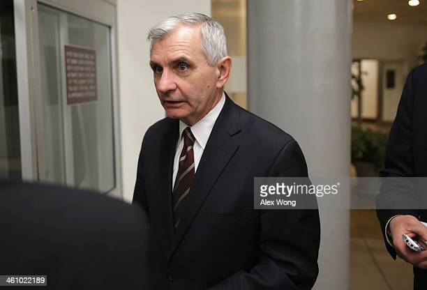 S Sen Jack Reed speaks to members of the press after a vote January 6 2014 on Capitol Hill in Washington DC Janet Yellen was confirmed by the Senate...