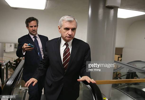 S Sen Jack Reed speaks to members of the press as he is on his way for a vote January 6 2014 on Capitol Hill in Washington DC Janet Yellen was...
