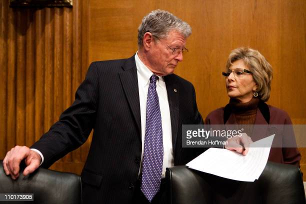 Sen James Inhofe and Sen Barbara Boxer talk before a hearing on Capitol Hill on March 16 2011 in Washington DC The commission issued its report...